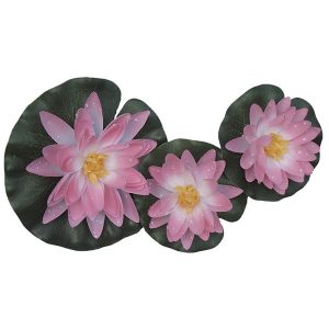 Flytande näckros silke rosa set 3 st